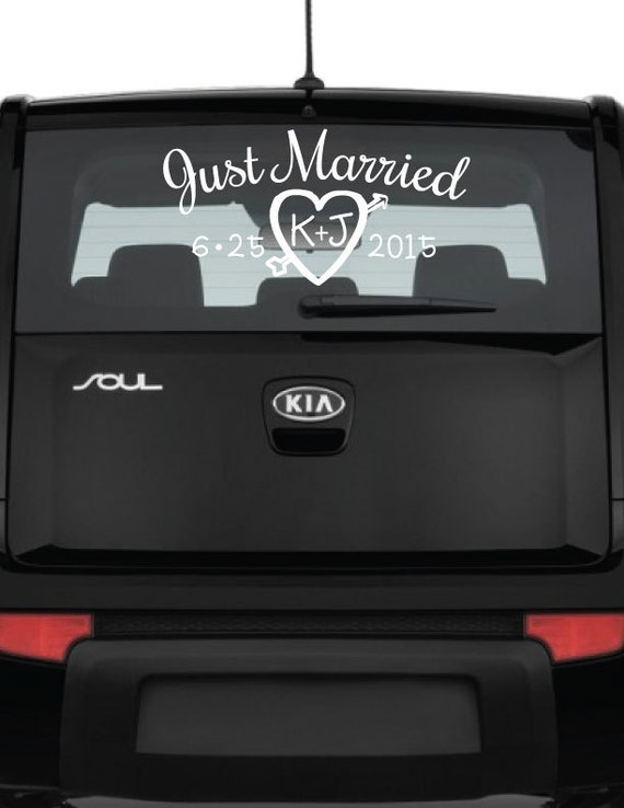 Just married car decal personalized vinyl decal window