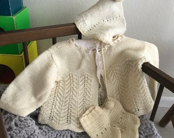 Vintage hand knit baby sweater set 1940s booties hat soft wool croqueted Dainty