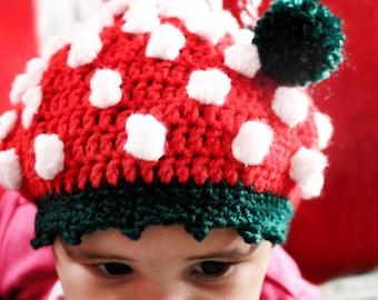 0 to 3m Newborn Elf Hat Pom Pom Beanie Baby Shower Gift - Crochet Red Green White Baby Hat Elf Prop Photo Prop Gift Costume  Labor Day