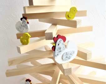 Christmas tree decorated with hens and chicks in natural wood. Tall tree 830 mm. hens and chicks wood acrylic paint