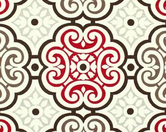 Red Brown & Gray Mosiac Fabric by the Yard Cotton Drapery Fabric Upholstery Fabric Red Brown Tan Country Farmhouse Home Decor Fabric B165