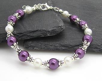 Purple and Ivory Bridesmaid Bracelet, Eggplant Wedding Jewellery, Pearl Bridal Sets, Bridesmaid Gift Ideas, Dark Purple Beaded Bracelet