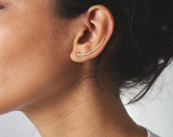 Simple Ear Climber, Modern Earring in Gold Filled or Sterling Silver / Hammered Earrings / Handmade Ear Climbers LE435, LE436