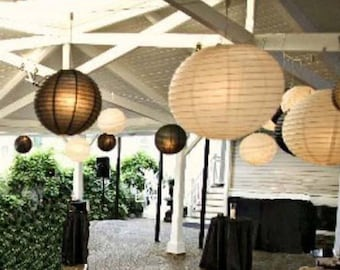9x White & Black Paper Lanterns with LED Bulbs for Wedding Engagement Anniversary Birthday Party Hanging Lighting Decoration