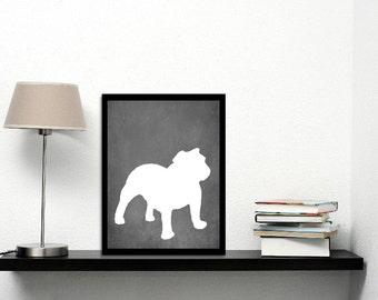 Modern Bull Dog Art Print, Chalkboard, Bull Dog Silhouette, Dog lover Gift