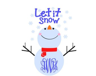 Snowman Monogram; SVG, DXF, AI, Ps, and Pdf Digital Cutting Files