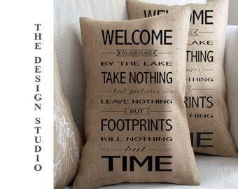 Country Pillow, Western Pillow, Bed and Breakfast, Farmhouse Chic, Rustic Pillows, Rustic Décor, Pillows with Words, Burlap Throw Pillow