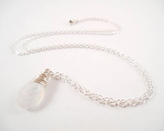 Sterling Moonstone Necklace - Sterling Silver Wire Wrapped Moonstone Briolette Necklace