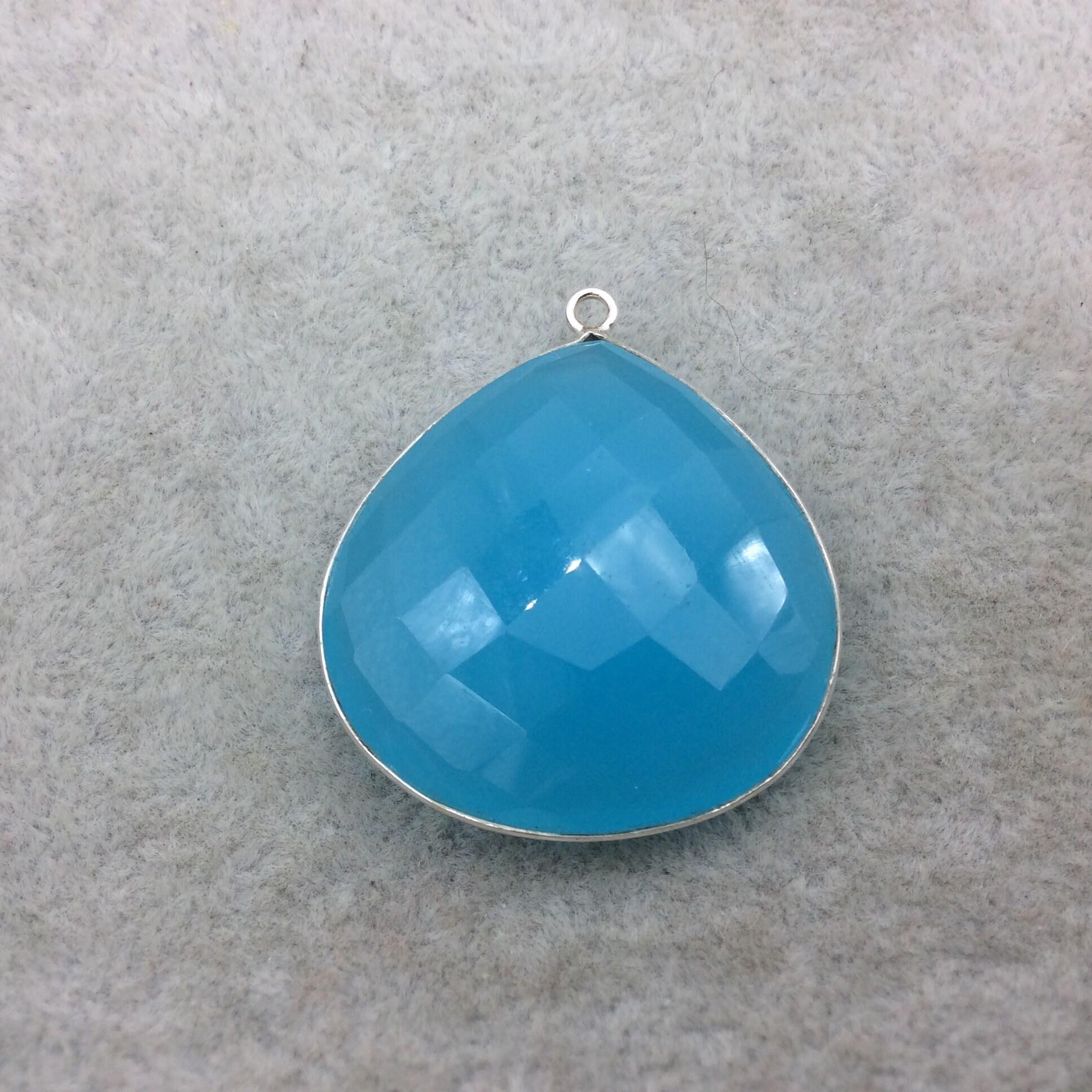 Sterling Silver Faceted Teardrop/Heart Shape Semi Opaque Aqua Blue ...