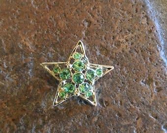 Sweet Little Green Diamond Star Pin