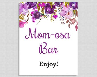 Momosa Bar Baby Shower Sign, Purple Watercolor Floral Sign, Baby Shower, Mimosa, INSTANT PRINTABLE
