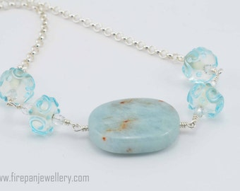 Amazonite and aqua glass swirl bead necklace, amazonite, gemstone, lampwork bead, glass, aquamarine, blue, handmade, subtle, sterling silver
