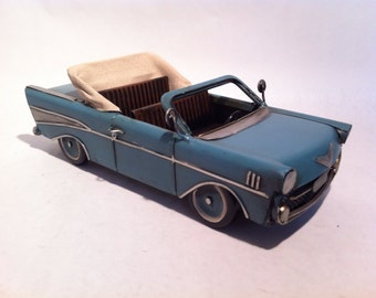 Tin Metal Car - Blue 57 Chevy Belair Convertible Car - American Classic Chevrolet Toy Desk Ornament - Gift for Him