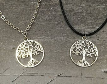 Tree of Life Necklace, Silver Tree Pendant, Round Circle Tree Char,Tree Charm Necklace, Spiritual Gifts, Tree of Life Charm, Yoga Necklace