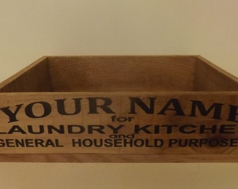 Laundry Soap Crate. Personalized. Vintage Style. Aged Wood