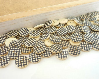 Wood Sewing Craft Buttons with Painted Checker Box Squares (15mm 12pcs set)