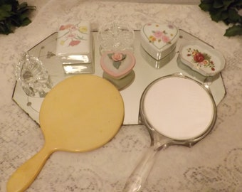 Vintage 60s Silver Etched Tray and Vanity Set w Hand Held Mirrors