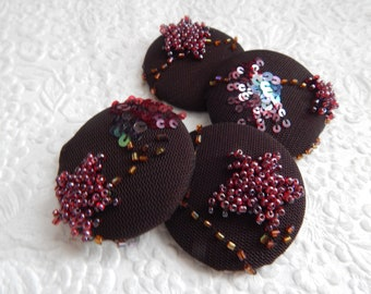 4 dark brown purple sparkly fabric buttons, beaded embroidered buttons, 4.7 cm, 48.26 mm, size 75 buttons, set 1