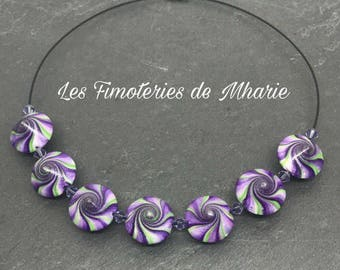Collection gradient green and purple swirl polymer clay necklace