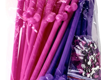 Penis Straws 20 Pack + Confetti by LIZZIE FROST Pink & Purple - Perfect for Bachelorette Party