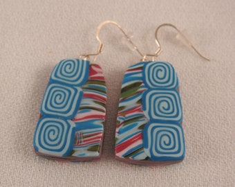 Turquoise swirl collage dangle earrings, polymer clay