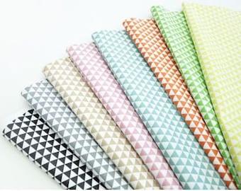 Laminated Scandinavian Nordic Style Mini Triangle Pattern Cotton Fabric -8 Colors Selection