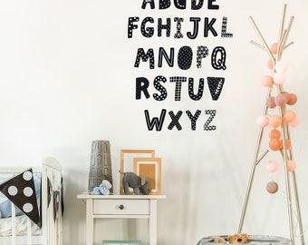 Alphabet Decals, Black and White, ABC's, Scandinavian Design Decals, Alphabet Fabric Wall Decals, Peel & Stick, Matte Eco-Friendly Stickers