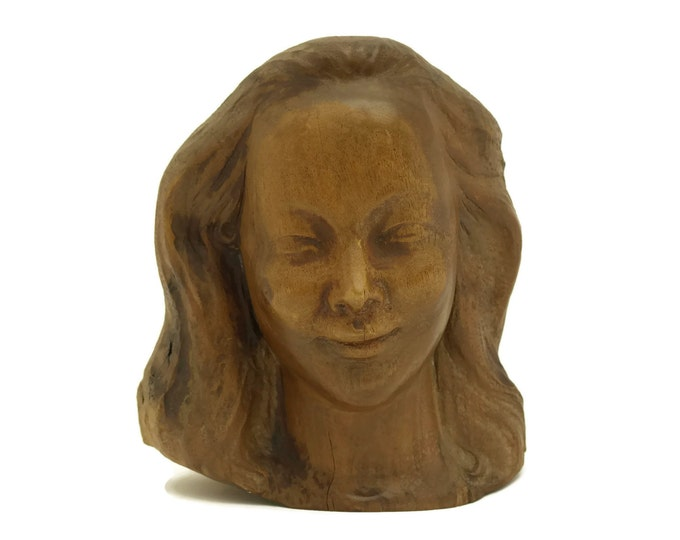 Art Deco Woman Head Bust Sculpture. Carved Walnut Wood Lady Face Statue. French Antique Wooden Portrait.