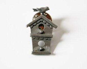 Vintage J.J. Bird Birdhouse Tack Pin Signed
