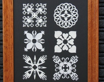 Quilt  Applique Collection - Framed Hand Cut Quilt Patterns Size 11x14