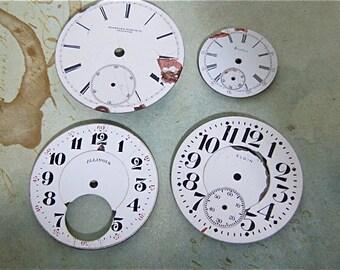 Vintage Antique porcelain pocket Watch Faces - Steampunk - Scrapbooking J22