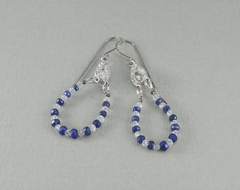 Crystal and blue sapphire gemstone hoop earrings