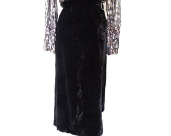 Vintage GOTH black velvet Maxi SKIRT // size eu 38 -uk 10 - us 6