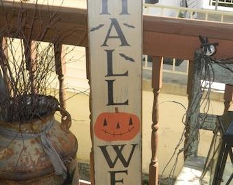 Halloween pumpkin bats Primitive Sign