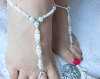 Barefoot Sandals Beach Wedding   Yoga Shoes Foot Jewelry  Beads Pearls White Blue