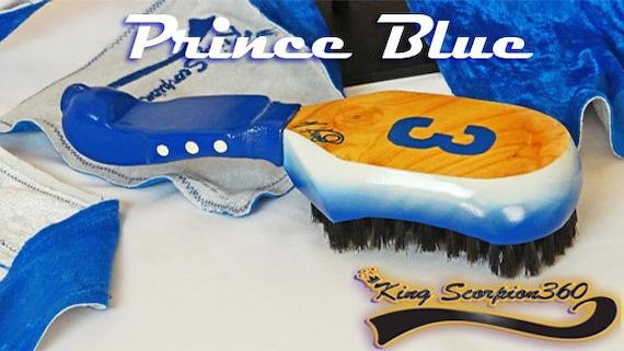 Prince Blue Collection New! 2018 Leather Grip Handle - King Scorpion 360 Custom (10 Row Loose) Medium Wave Brush Plus Double Velvet Du-rag