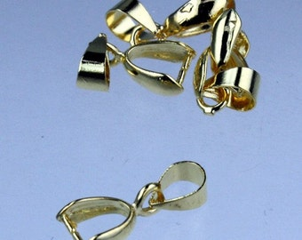 20 pcs of Gold plated on Brass Pinch Ice Pick Bails Pendant Clasp - 15mm