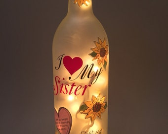 Sister Wine Bottle Light