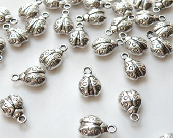 10 Little Ladybug charms antique silver 15x10mm DB01426