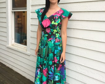 80s Floral Dress Black Tropical Print Lanz Summer Sun Cotton Long S Vintage