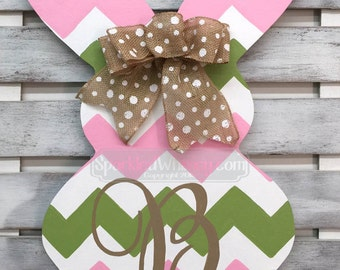 Monogrammed Chevron Easter Bunny Door Hanger Sign (pink/foliage green)
