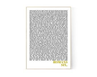 Romans 6, Printable, Print, Christian, A4, Graphic Design Poster, Wall Art, Scripture, Verses, New Testament, Bible