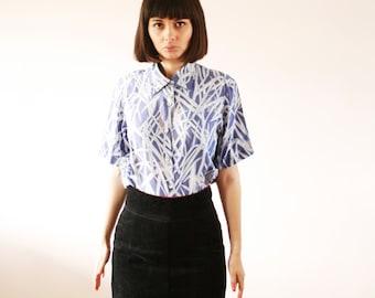 Japanese blue print bamboo shirt Semi transparent lightweight shirt Light boho chic blue-purple shirt 80s (S/M)