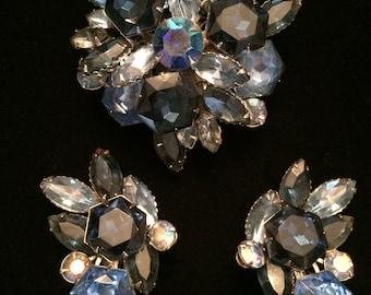 Blue Rhinestone Demi Parure Brooch Pin Clip-on Earring Set Unsigned