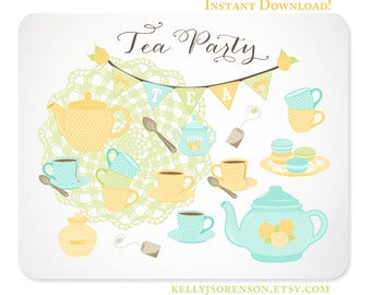 Tea Party Clipart - Yellow Rose - Doily, Bunting, Tea Set, Macarons - Instant Download