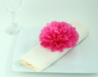 40 Tissue Paper Flower Napkin Rings, Baby Shower Decoration, Table Decoration, Rose, PICK YOUR COLORS