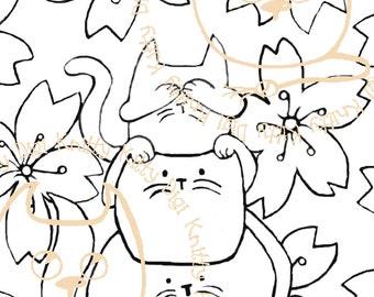 Digi Stamp Instant Download. Hearnoevil, Seenoevil, Meownoevil - Knitty Kitty Digis No. 5