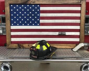 Fire hose flag, framed flag, framed fire hose flag, Hose flag, fire flag