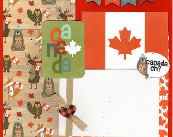 Canada Eh? 2 Page Scrapbooking Layout Kit or Premade Scrapbooking Page