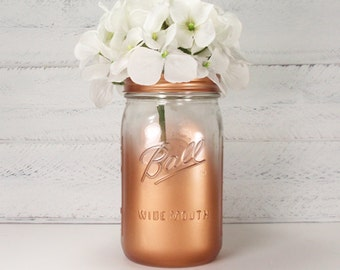 Clear Partial Metallic Painted Wide Mouth Quart Mason Jar Flower Vase-Country Decor-Cottage Chic-Shabby Chic-French Chic